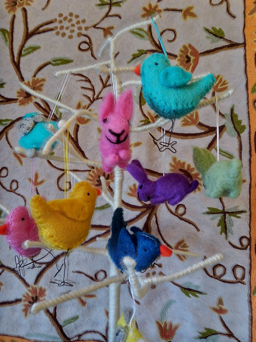 Felt Birds with Wire Legs Hanging Decoration, Easter, Fair Trade, Made in Nepal