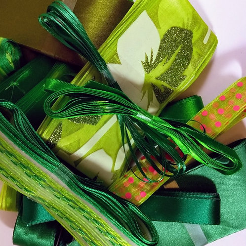 Green Pot Luck Bundle of 5 X 3m ribbons