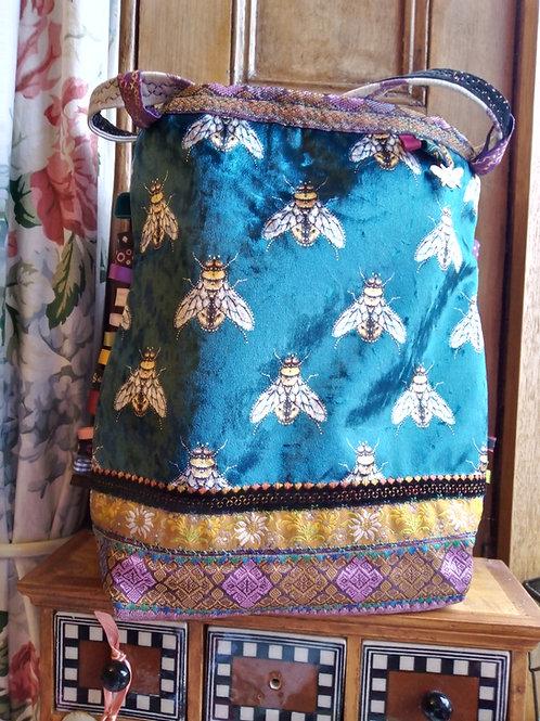 Bee Velvet Medium Handbag, Unique handmade bag
