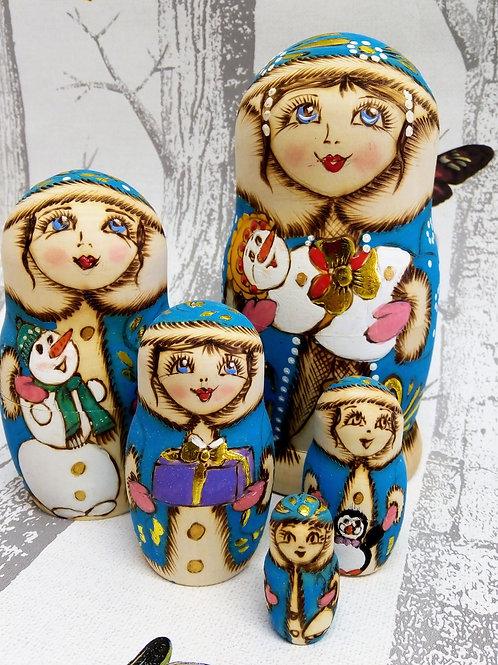 Blue Snowman Russian Matryoshka Doll