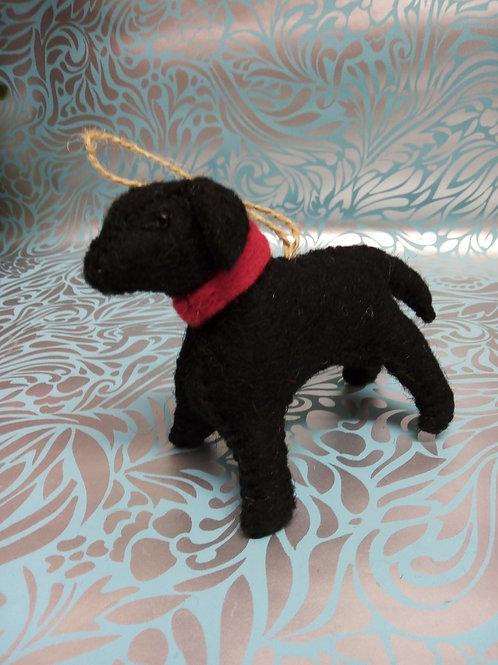 Felt dog, Black Labrador, Fair Trade Hanging Decoration.