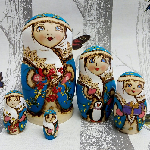 Pale Blue Winter Russian Matryoshka Doll