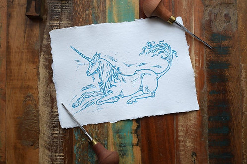 Unicorn, Lino Cut Print, Jack Conkie, Right Villianous Chapbooks Limited Edition
