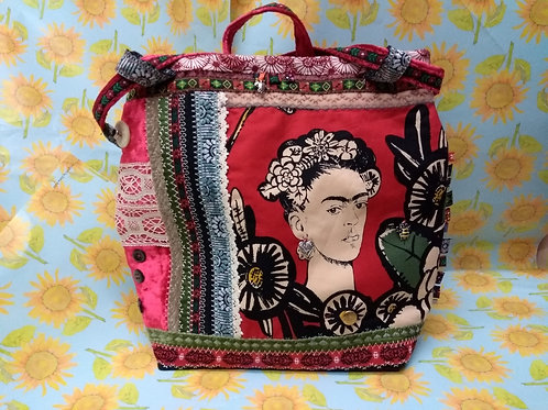 Red and Black Frida Khalo Velvet Bag