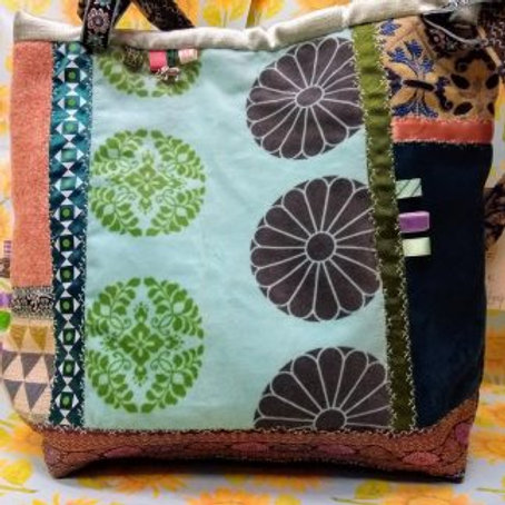 Mint Velvet and Scottish Tweed Bag, Unique Hand made Bag, Mother's Day Gift