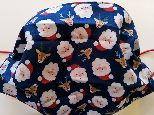 Santa Claus on Blue, Facemask,Fabric mask, Washable, TRIPLE LAYER