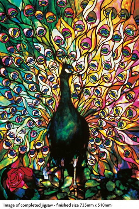 Adult Jigsaw Puzzle, Tiffany Displaying Peacock