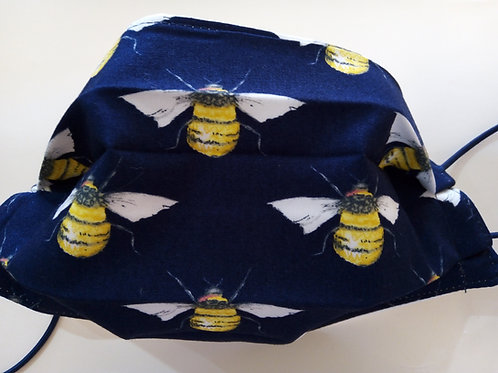 BEE on Navy Blue, Facemask,Fabric mask, Washable, TRIPLE LAYER