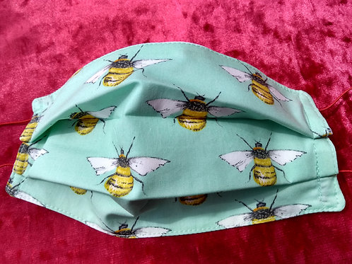 BEE on mint green, Facemask,Fabric mask, Washable, TRIPLE LAYER