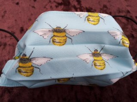BEE on pale blue, Facemask,Fabric mask, Washable, TRIPLE LAYER