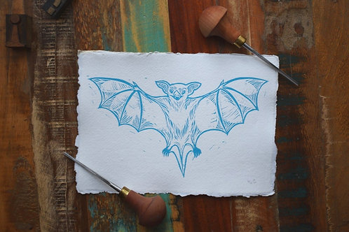 Bat, Lino cut Print by Jack Conkie, Limited Edition