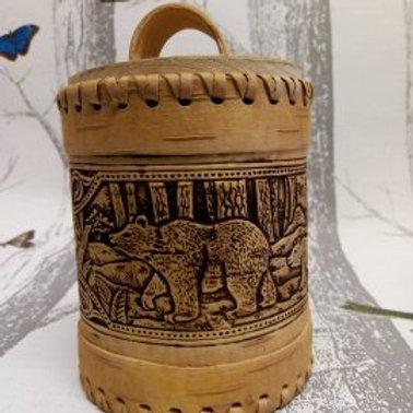 Forest Bears, Birch Bark Canister, Birch Bark Box, Handmade Siberian Craft