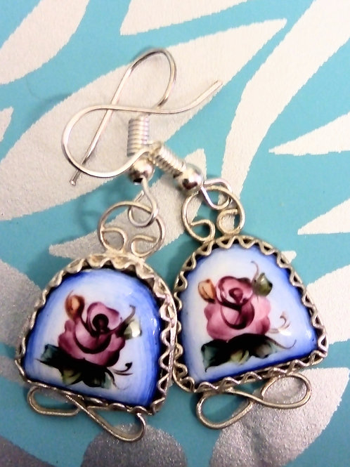Bell Finift Handpainted Earrings, Finift Filigree,