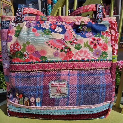 Butterfly Harris Tweed Unique Handbag, Blue and Pink Handbag