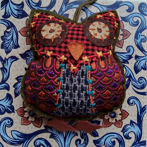 Red Check and Tweed Owl Hanging Decoration, Fair Trade,