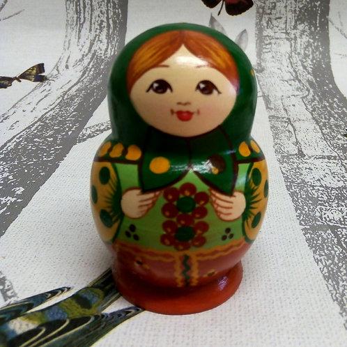 Green Miniature Russian Matryoshka Doll
