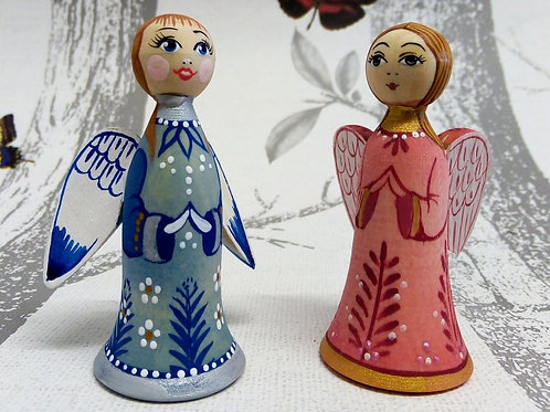 Pair of Angel Ornaments, Handpainted Wooden Decorations