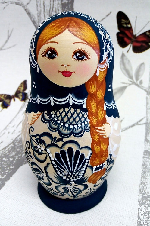 Blue and Cream Lace , Floral Russian Matryoshka Doll