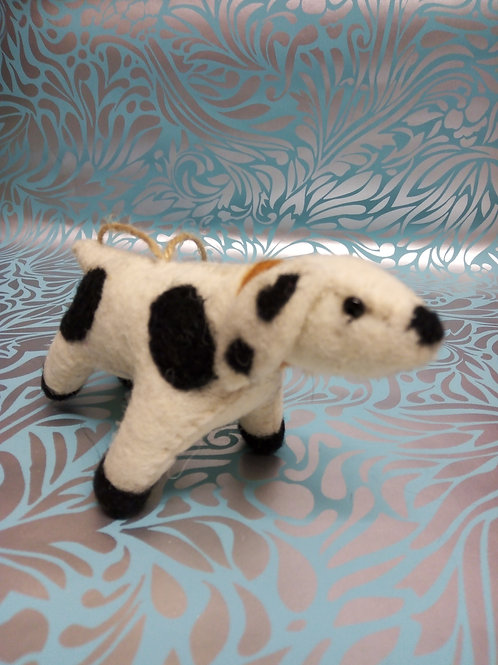 Spotty Felt dog, Fair Trade Hanging Decoration.