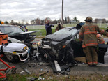 Two vehicle collision in Spencerville, MD.; 4 adults transported to Hospital