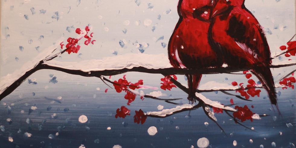 Cardinal Birds in Winter