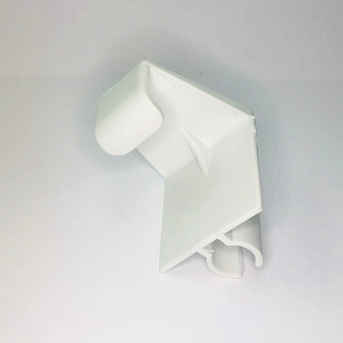 Accordion Shutter Hold Down Clip, white plastic, angle view