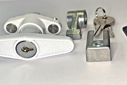 T Handle Lock for Accordion Shutters, white, front view_with parts and keys