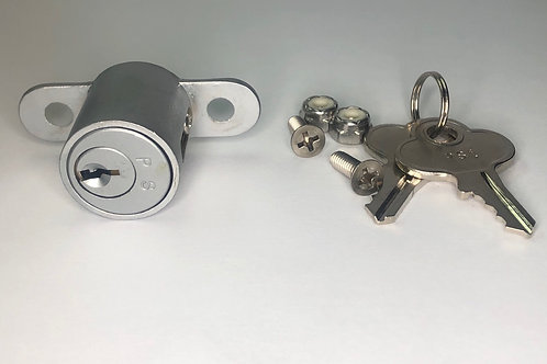 CF Center Form Lock, silver, front view, 2 screws, 2 nuts, keys