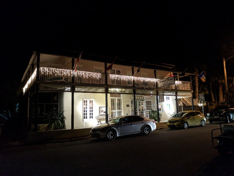 The Island Hotel view from outside at night (Cedar Key, FL)