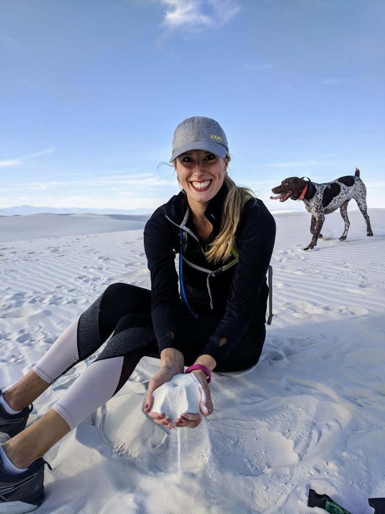 White Sands National Monument - Caitlyn holding sand
