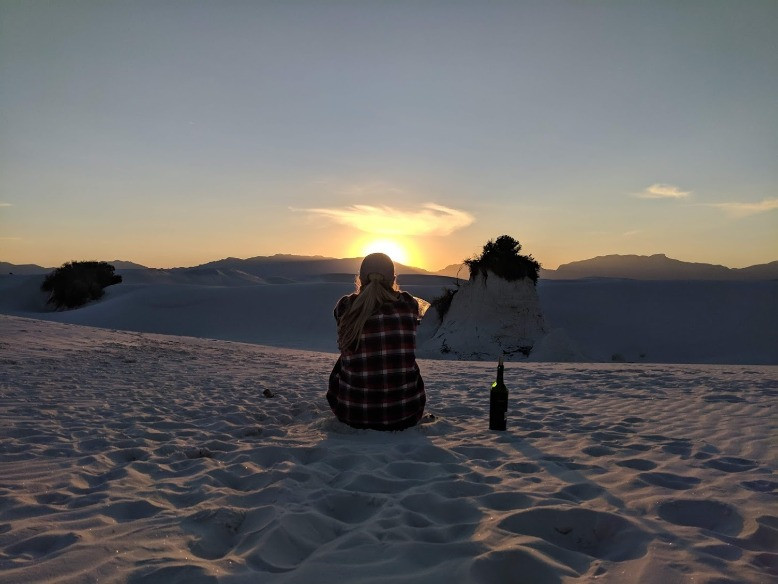 White Sands National Monument Sunset on Dunes with Wine