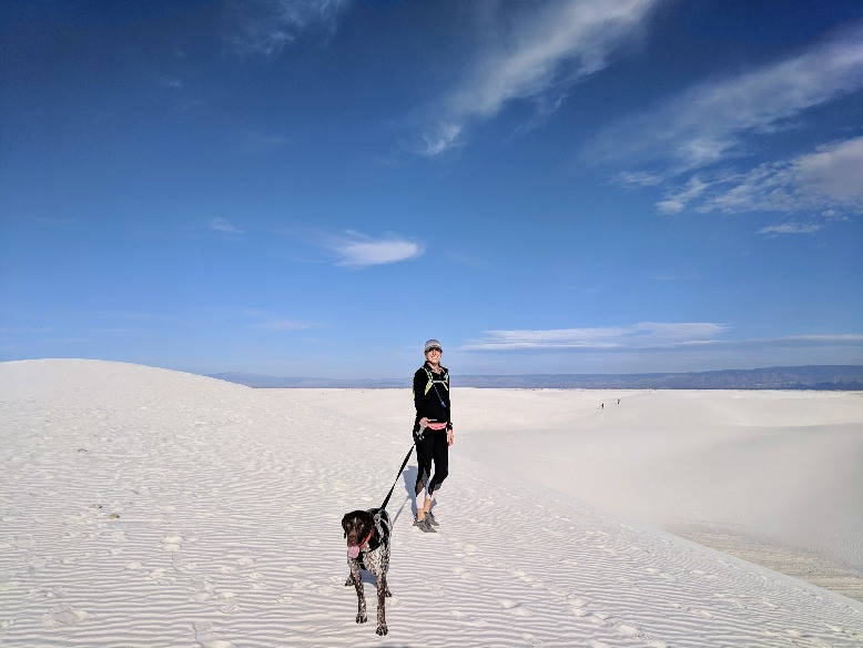 White Sands National Monument - Caitlyn and her dog