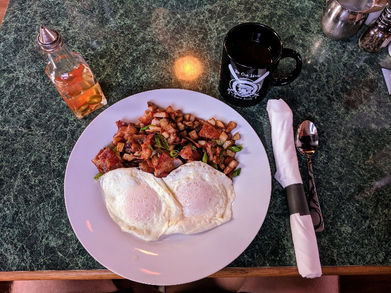 Our favorite breakfast at The Oar House - Bacon Hash.