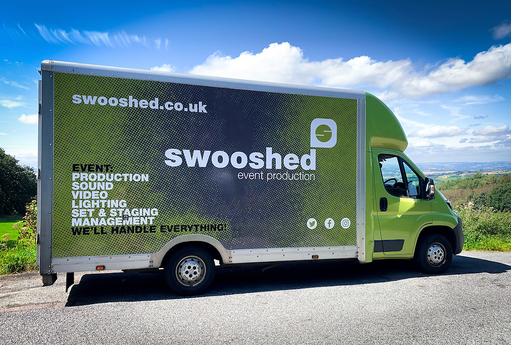 Swooshed new van graphics, showing our key services of event production, sound, video, lighting set and staging event management
