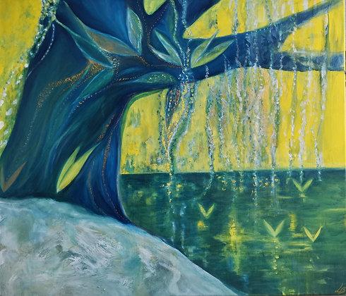 Saule Magique, Huile sur toile, 70 x 60 cm