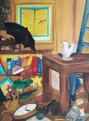 Grenier Déserté?, Huile sur toile, 60 x 80 cm