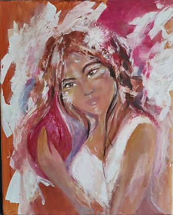 À l'Écoute de Sa Flamme Intérieure, Huile et acrylique sur toile, 40 x 50 cm