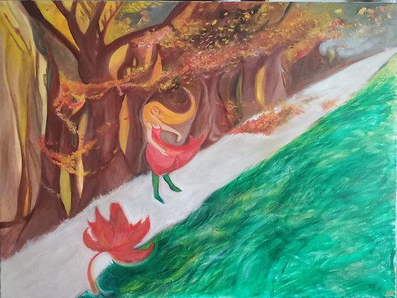 Vent d'Automne, Huile sur toile, 80 x 60 cm