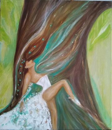 La Vie Est Mouvement, Acrylique et huile sur toile, 60 x 70 cm