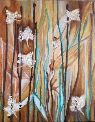 Fées Des Herbes, Huile et acrylique sur toile, 40 x 50 cm