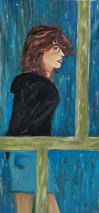Par La Fenêtre, Huile et acrylique sur toile, 35 x 75 cm