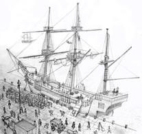 HMS Beagle in port