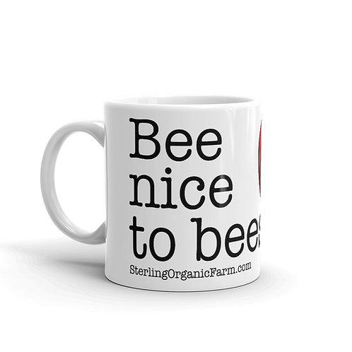 """Bee nice to bees"" coffee mug"