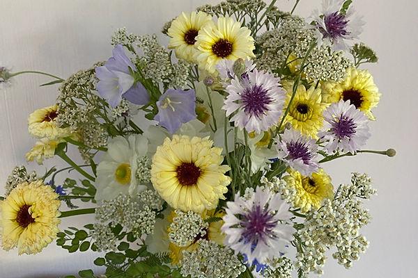 dusty blue ivory wildflowers wedding flowers bridal bouquet