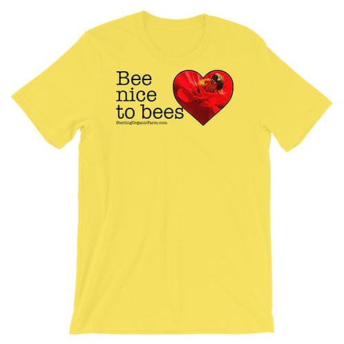 """Bee nice to bees"" Short-Sleeve Unisex T-Shirt"
