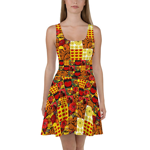 Patchwork Fit and Flare Dress
