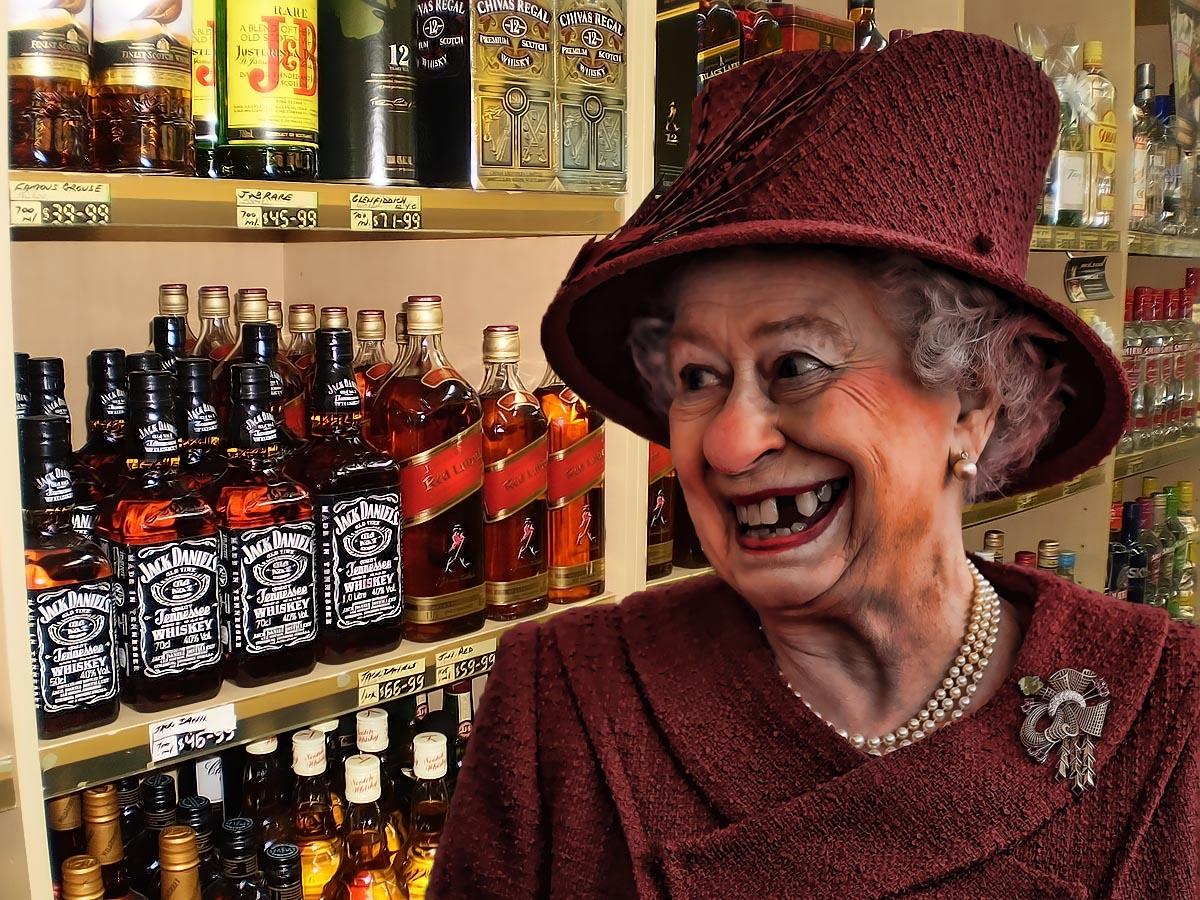 Queen busted in bottleshop