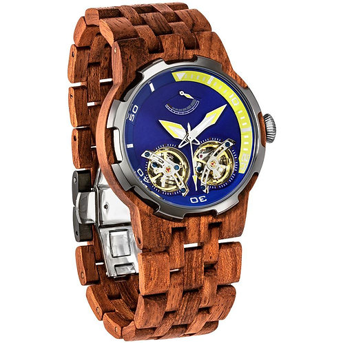 Men's Dual Wheel Automatic Kosso Wood Watch - For High End Watch Collectors