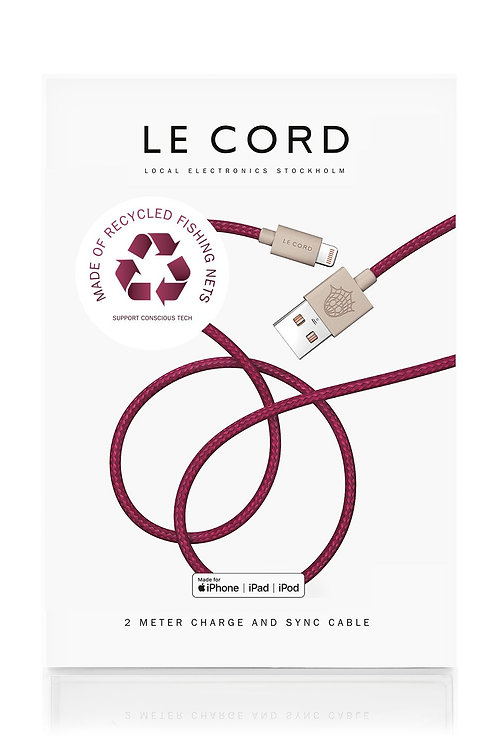 Plum iPhone Lightning Cable · 2 Meter · Made of Recycled Fishing Nets