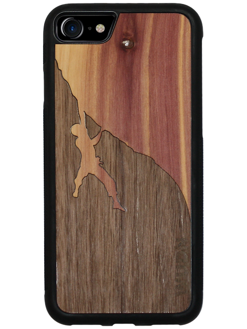 Slim Wooden Phone Case | Rock Climber Inlay